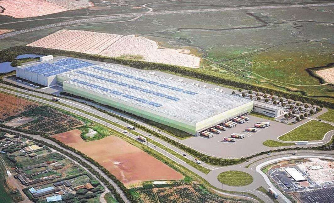 Artist's impression of the 14-acre Aldi distribution centre at Neats Court, Queenborough