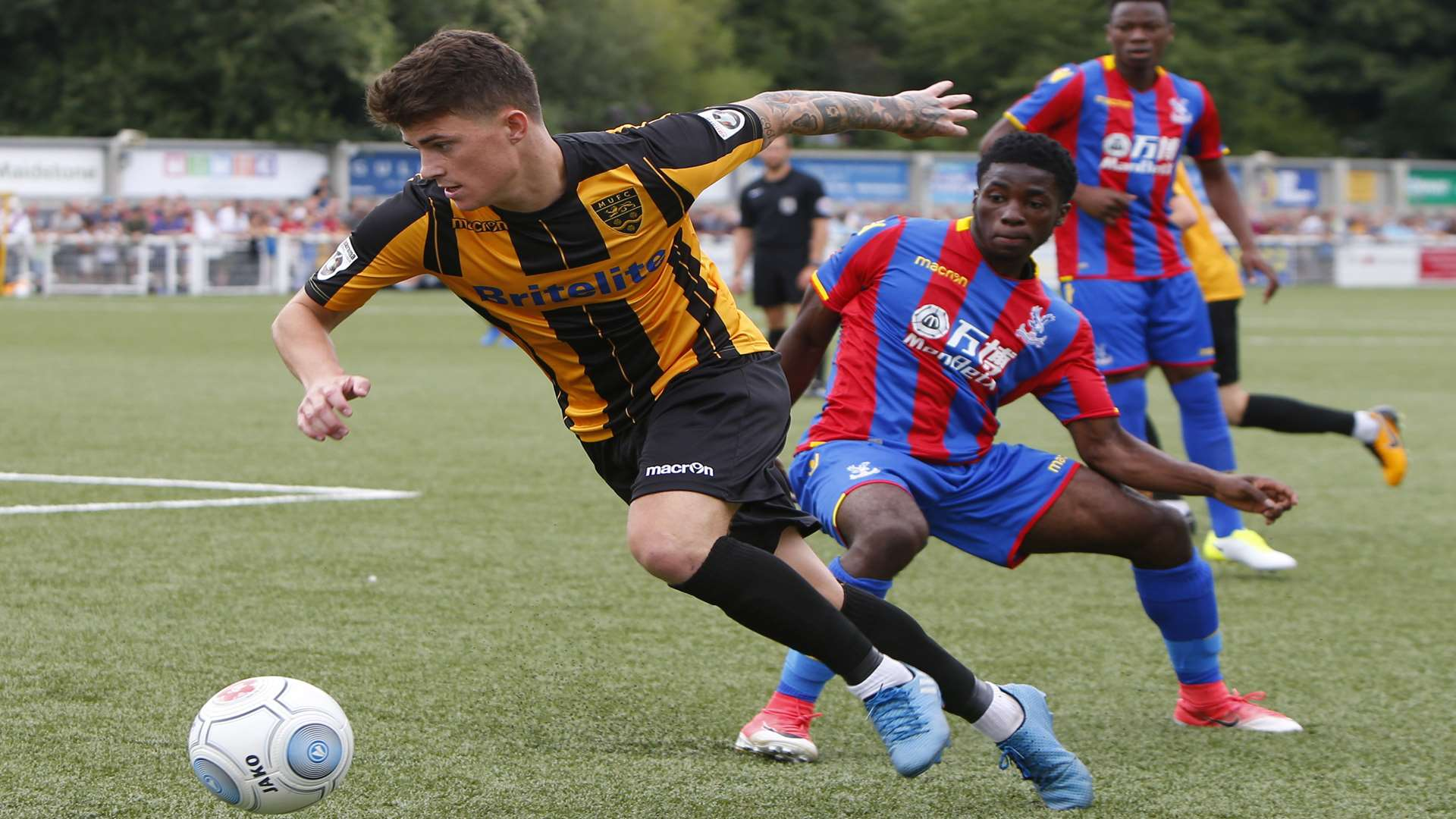 Jack Paxman shows quick feet to evade a Palace challenge Picture: Andy Jones