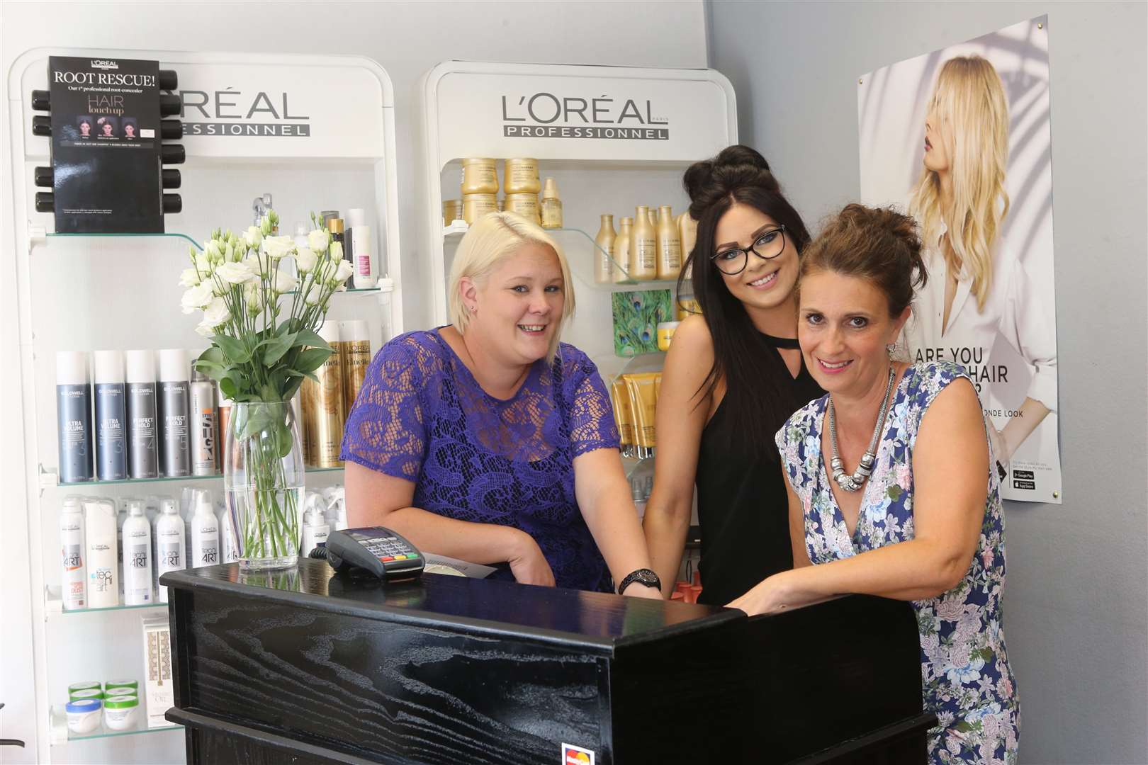 Rhiannon Byrant, stylist, Kat Roome, receptionist, and salon owner Liz Coppin