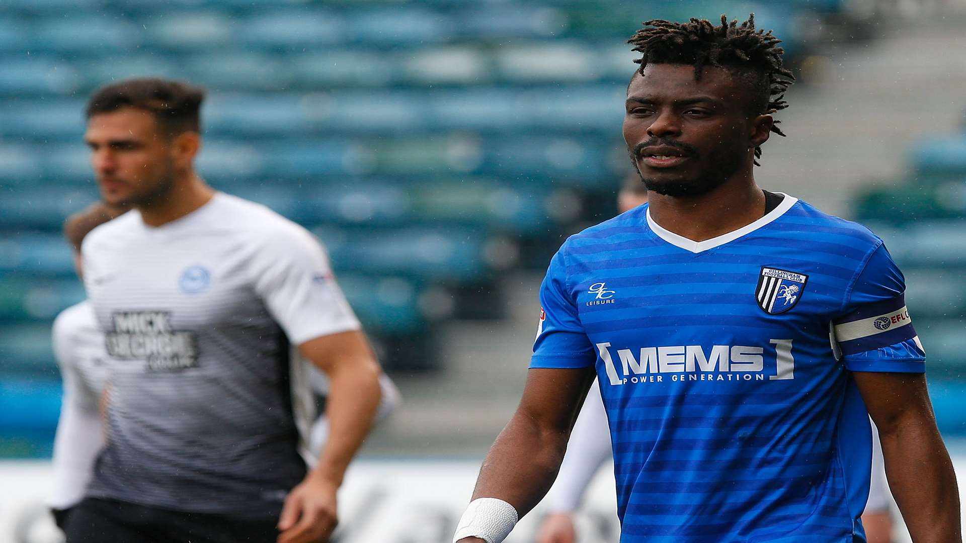 Gabriel Zakuani captained Gillingham against his former club, Peterborough, on Saturday. Picture: Andy Jones