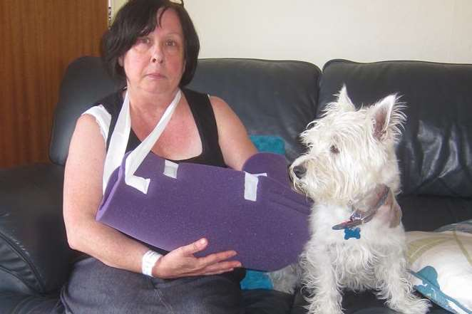Karen Tabor and her dog Hamish were attacked by a labrador