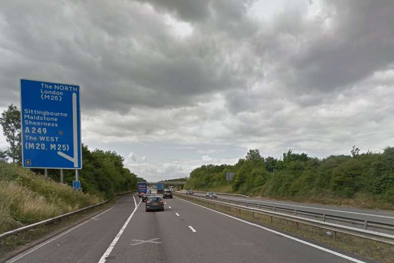 The accident occured on the London bound carriageway of the M2. Picture: Google Streetview