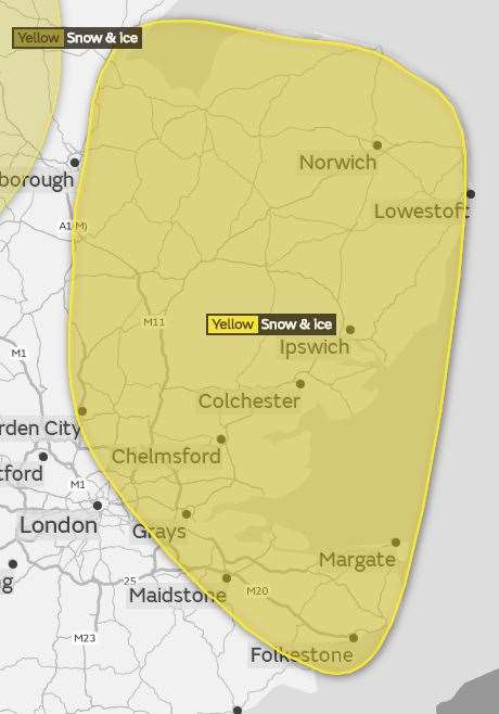 The area affected by the warning: Image courtesy the Met Office