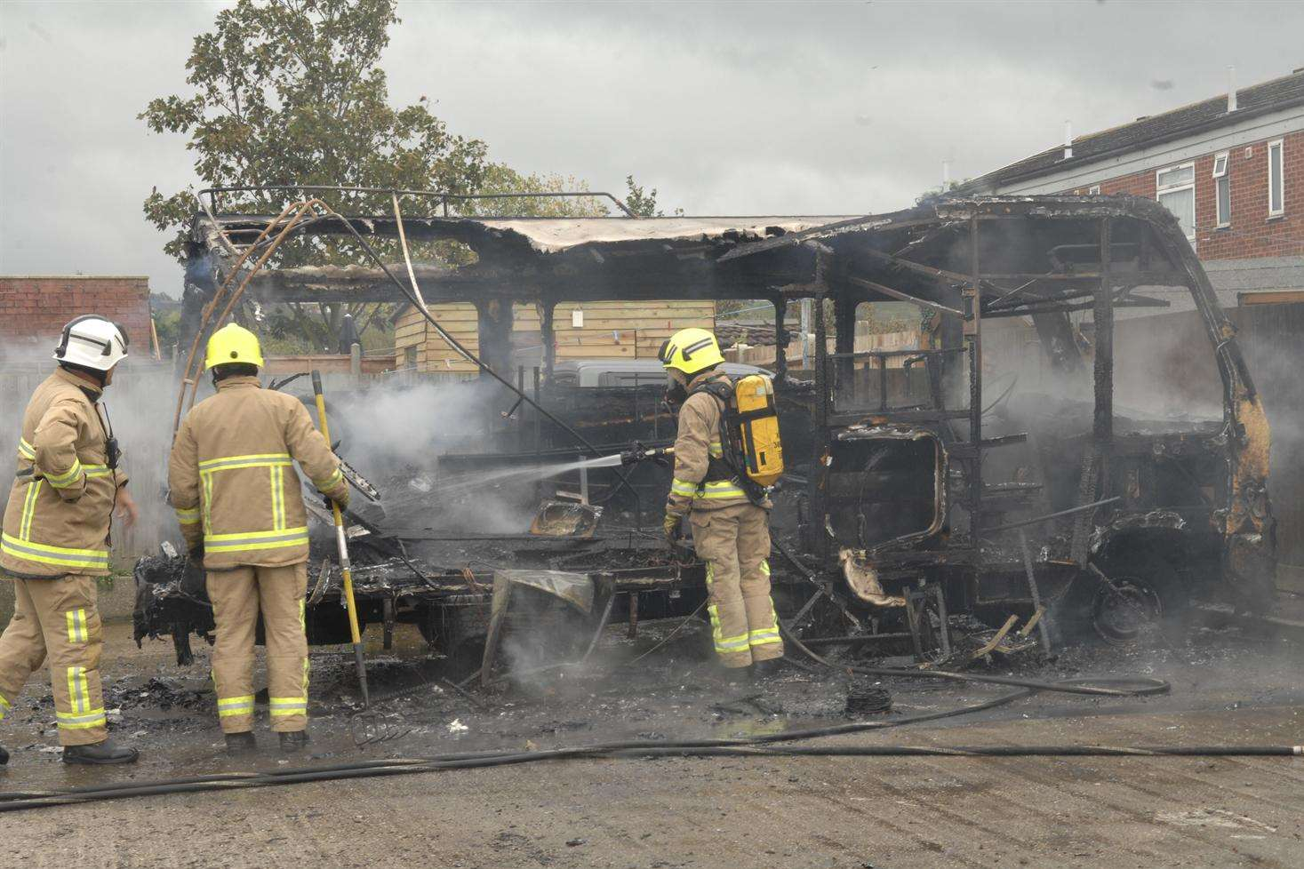 The campervan caught fire with the owner still inside