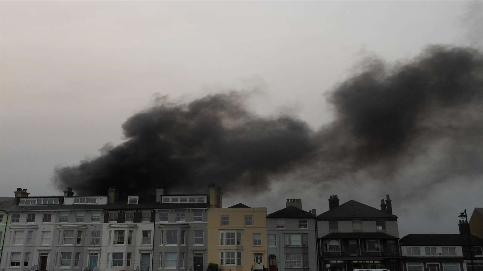 Billowing smoke could be seen from seafront in Walmer Picture: Tony Wickenden