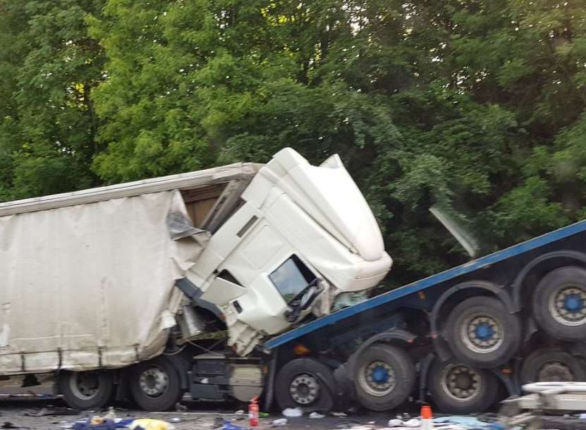 The collision involved two lorries, a coach and three cars. Picture: Matt Edwards