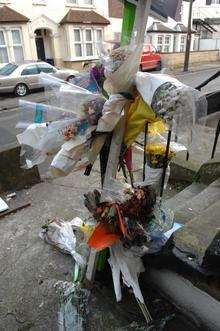 Floral tributes to Edward Barry in Parrock Street, Gravesend