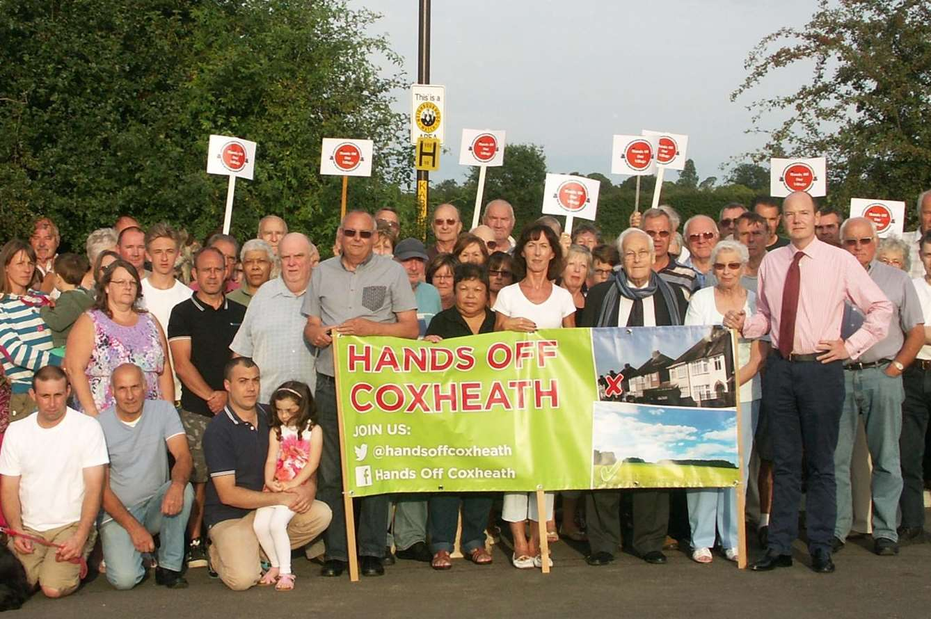 Jasper Gerard (to the right of the banner) supporting the Hands Off Coxheath campaigners