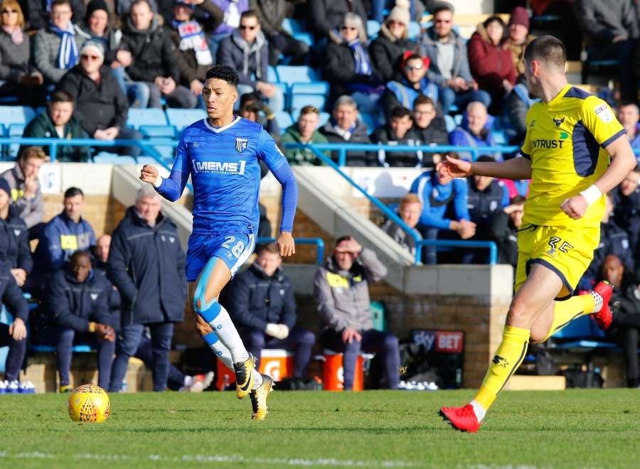 Sean Clare on the ball for Gillingham Picture: Andy Jones