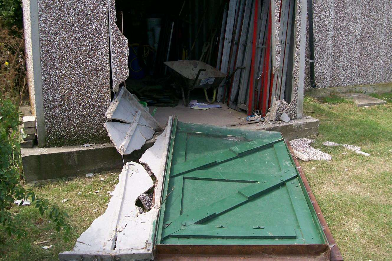 The door of Sheppey Miniature Engineering and Model Society's shed damaged in a burglary
