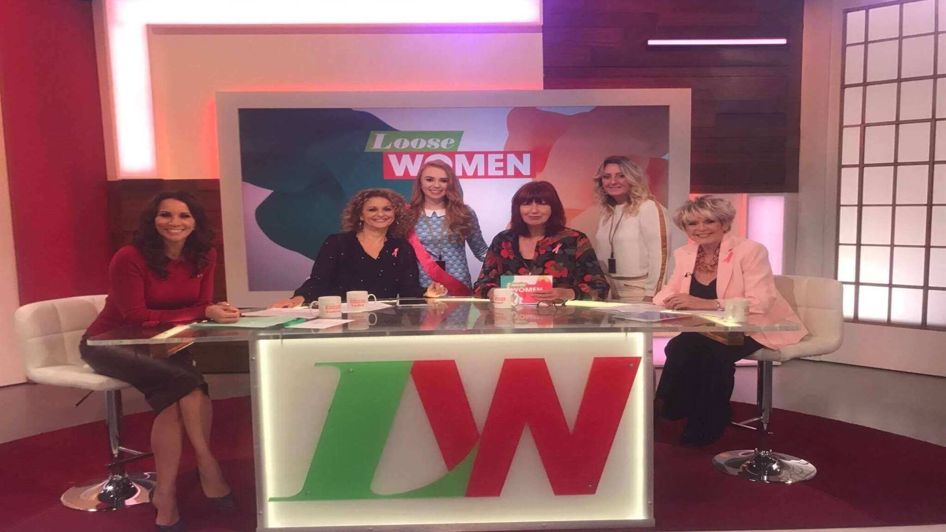 Kerys Squire and her mum Lisa Hale with the Loose Women hosts
