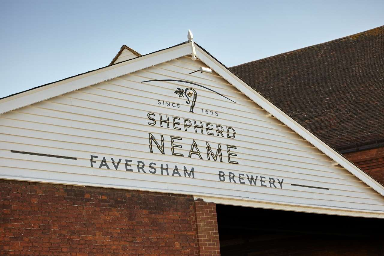 The new Shepherd Neame branding painted on its Faversham brewery
