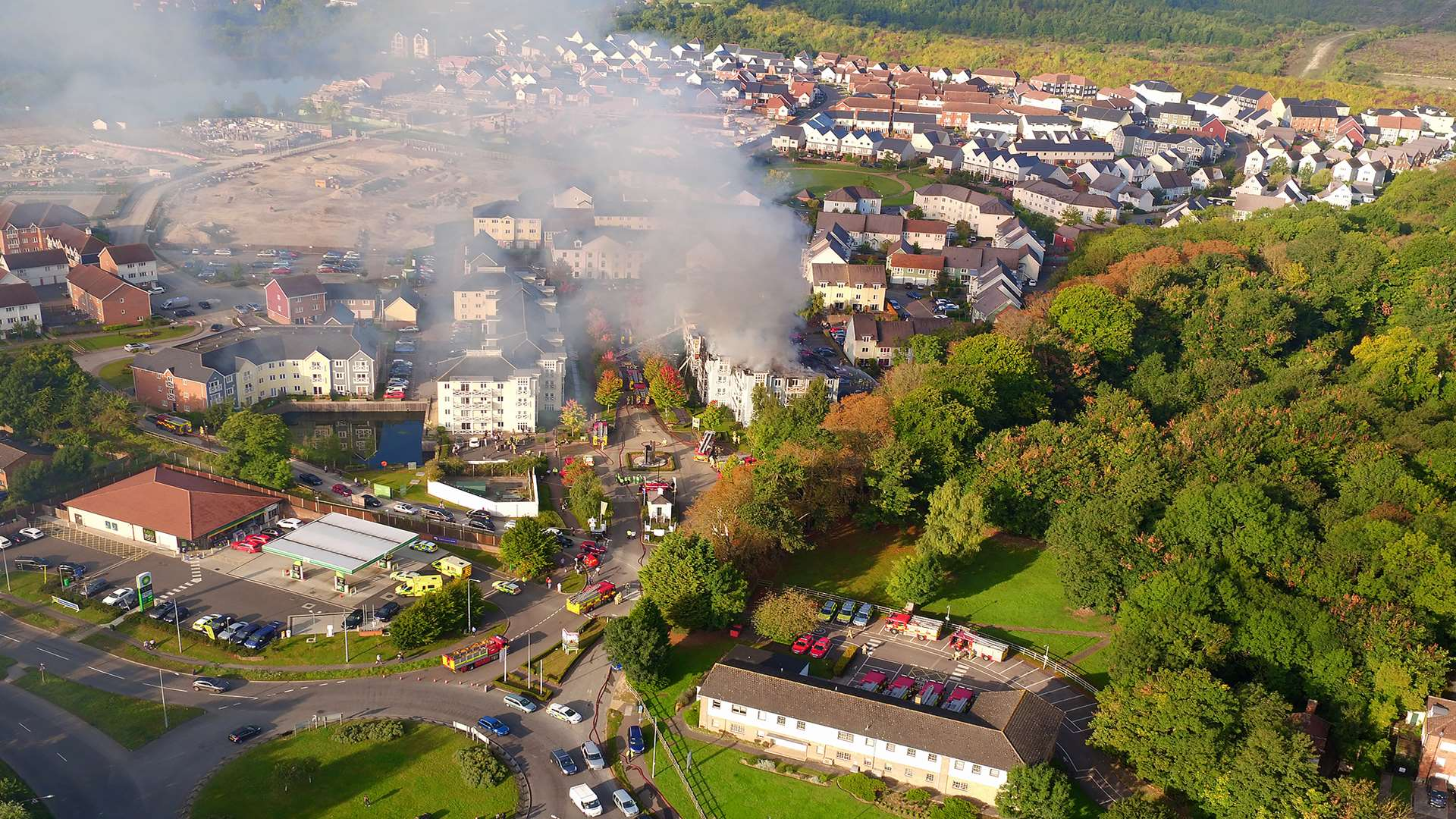 Aerial photo of the fire at Holborough Lakes. Pic Lewis Steeper – FalconUAV