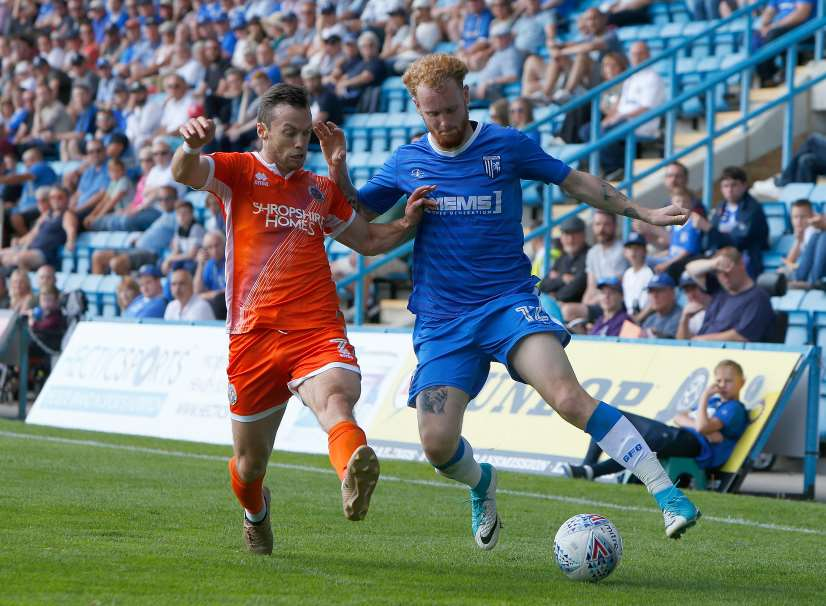 Connor Ogilvie on the ball for Gills against Shrewsbury Picture: Andy Jones