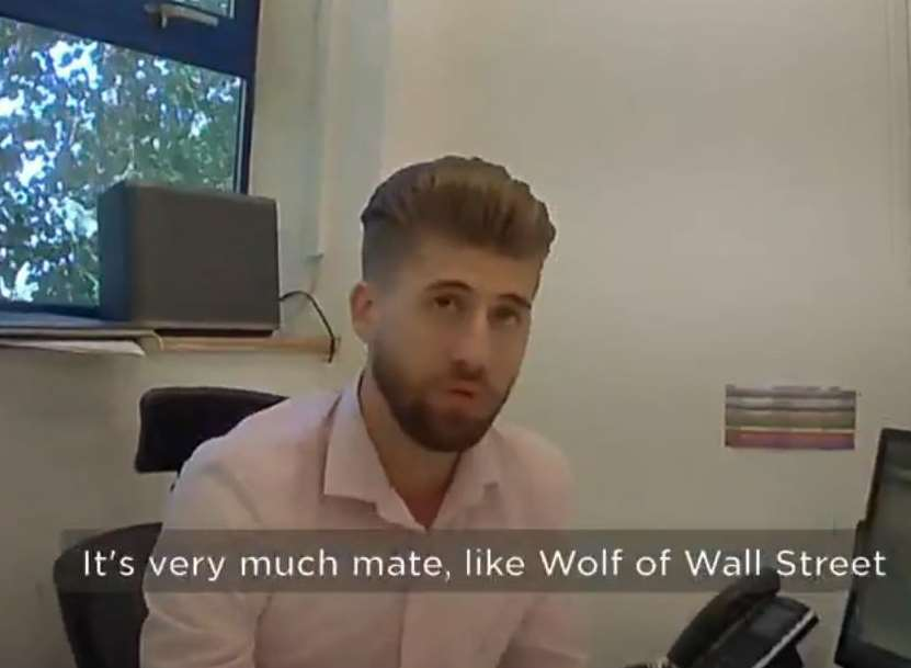 Andrew 'Bill' Beale, who no longer works for the company, was filmed by an undercover reporter comparing MyHomes to The Wolf of Wall Street. Picture: BBC/Watchdog