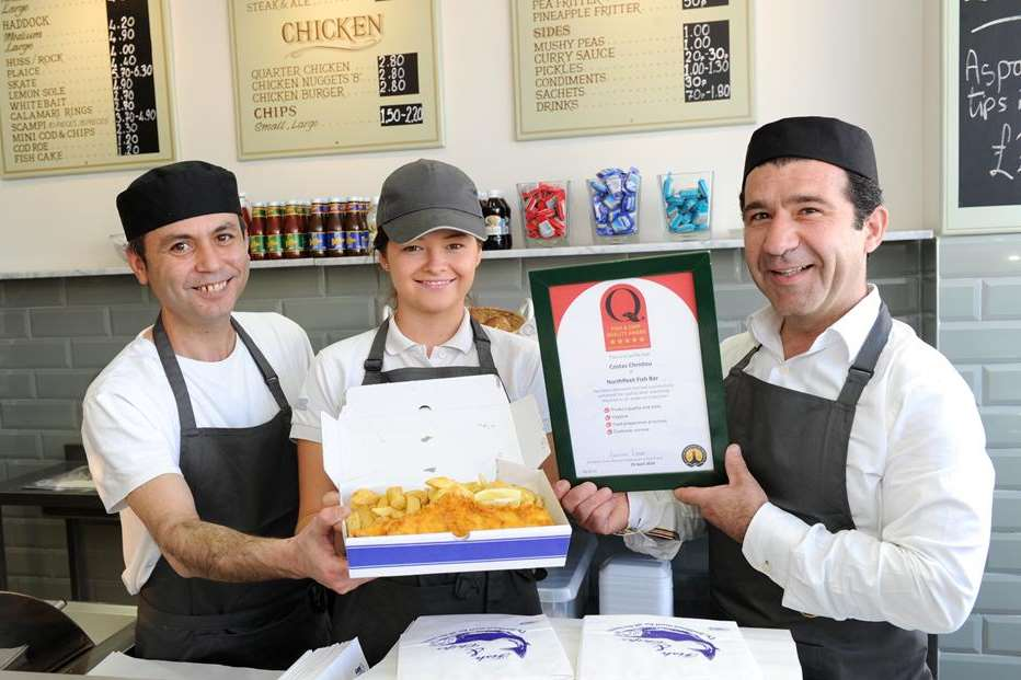 Martin Can, Leah Goodwin, Costas Christou from Northfleet Fish Bar in Perry Street.