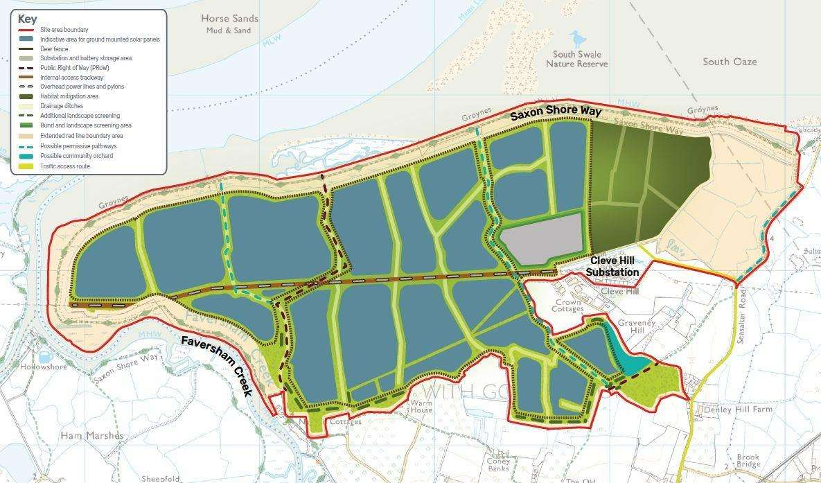 Proposed site for Cleve Hill Solar Park Farm near Graveney