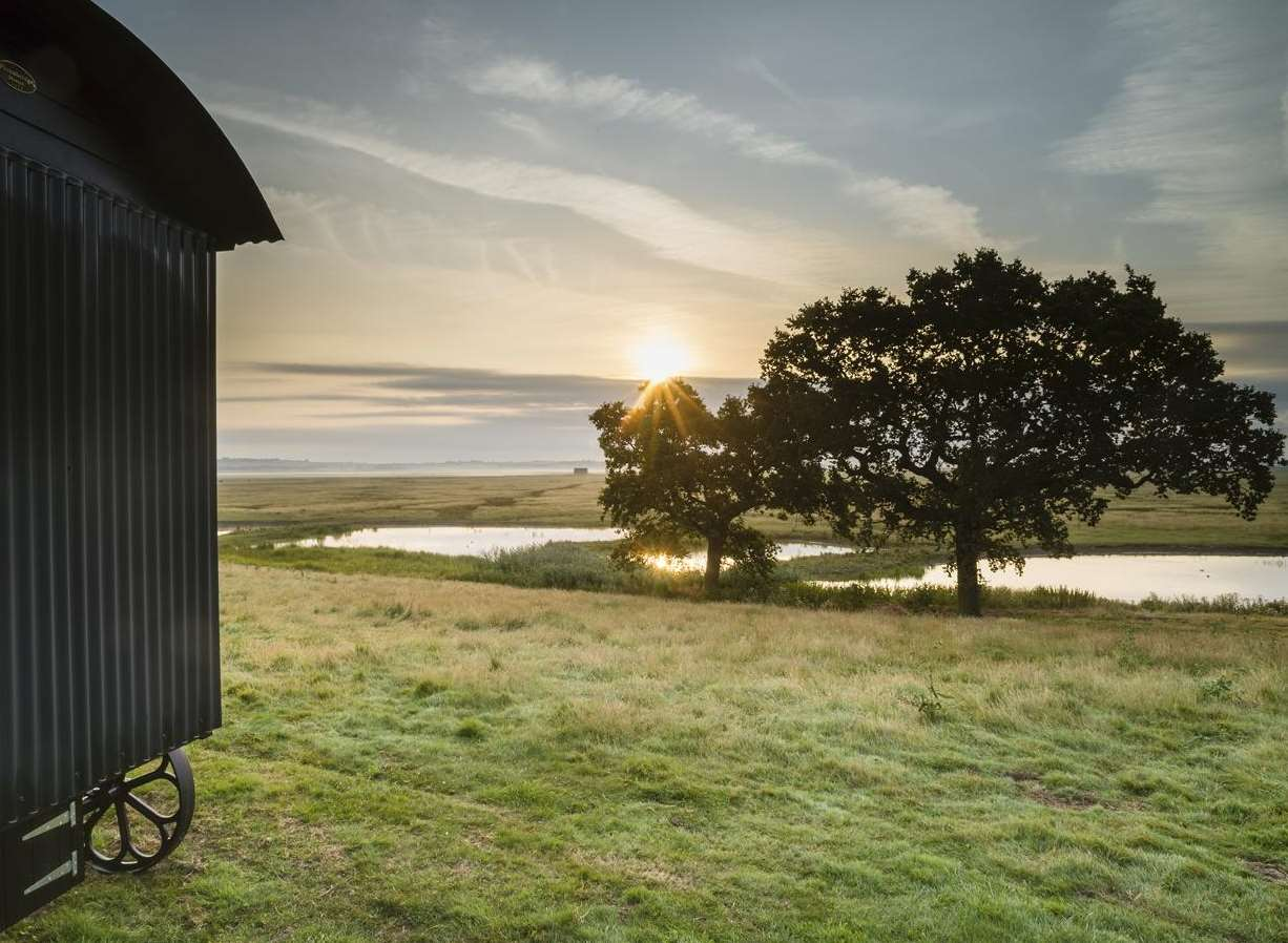 One of the huts and its stunning views at Elmley Nature Reserve Picture: Robert Canis