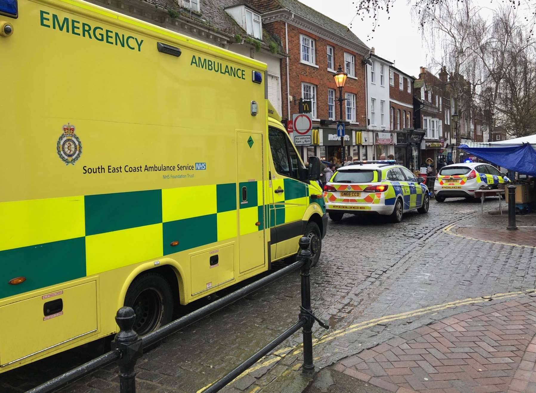 Emergency services in Ashford High Street. Picture by Steve R Salter