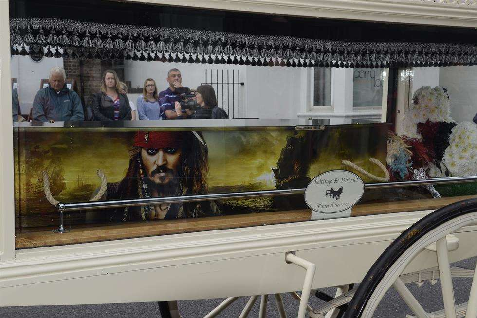The funeral cortege for Reece Puddington, with Jack Sparrow coffin