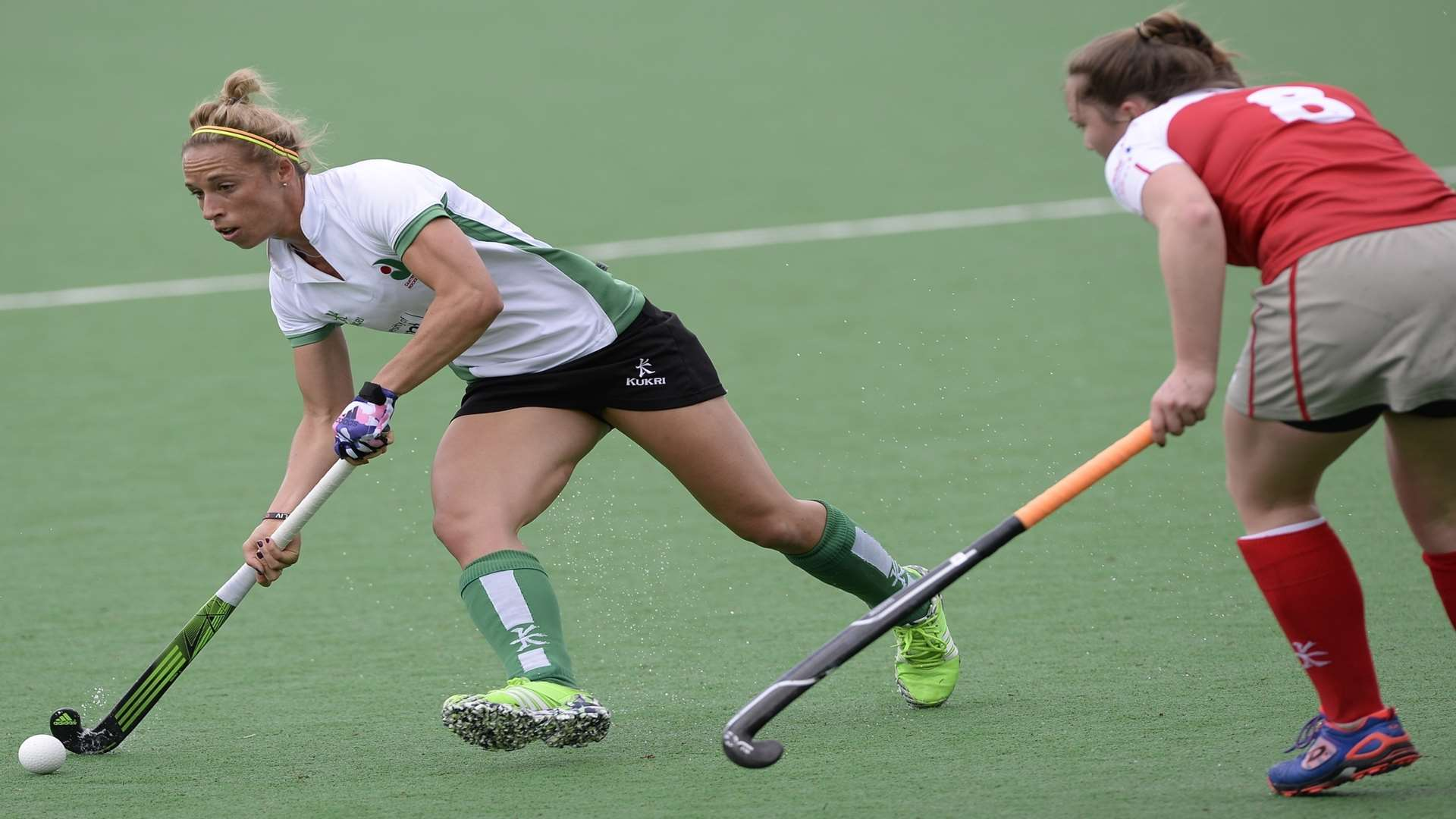 Susannah Townsend pushes forward against Pegasus in the recent EuroHockey Championships in Bilthoven. Picture: Ady Kerry