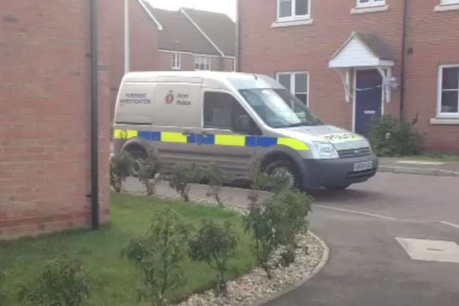 Police at the scene of the murder bid in Glimmer Way, Wainscott