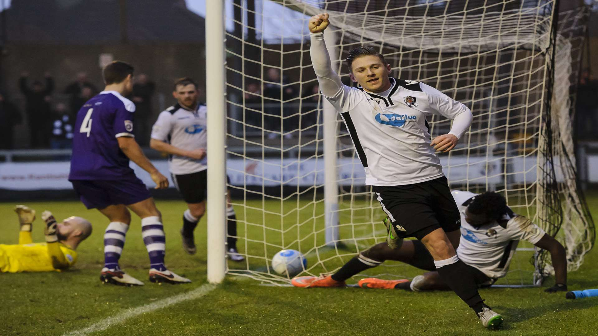 Andy Pugh celebrates scoring Dartford's fourth. Picture: Andy Payton