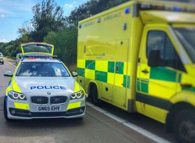 Police and secamb are at the scene. Stock image