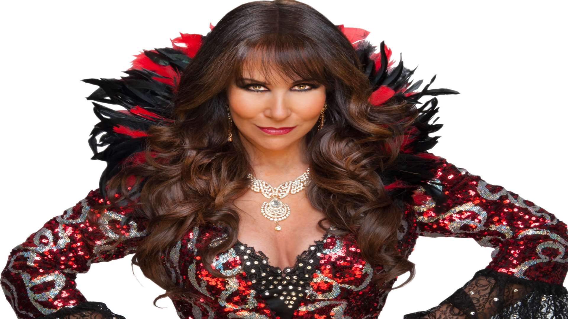 Linda Lusardi is the Wicked Fairy in the 2017 Christmas panto at The Woodville