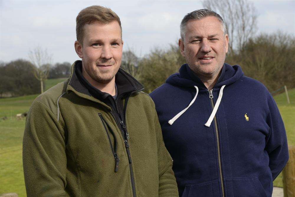 Head green keeper Sam Burton, left, with Mark Chilcott, right, co-owner of the new Kingsnorth Golf Club