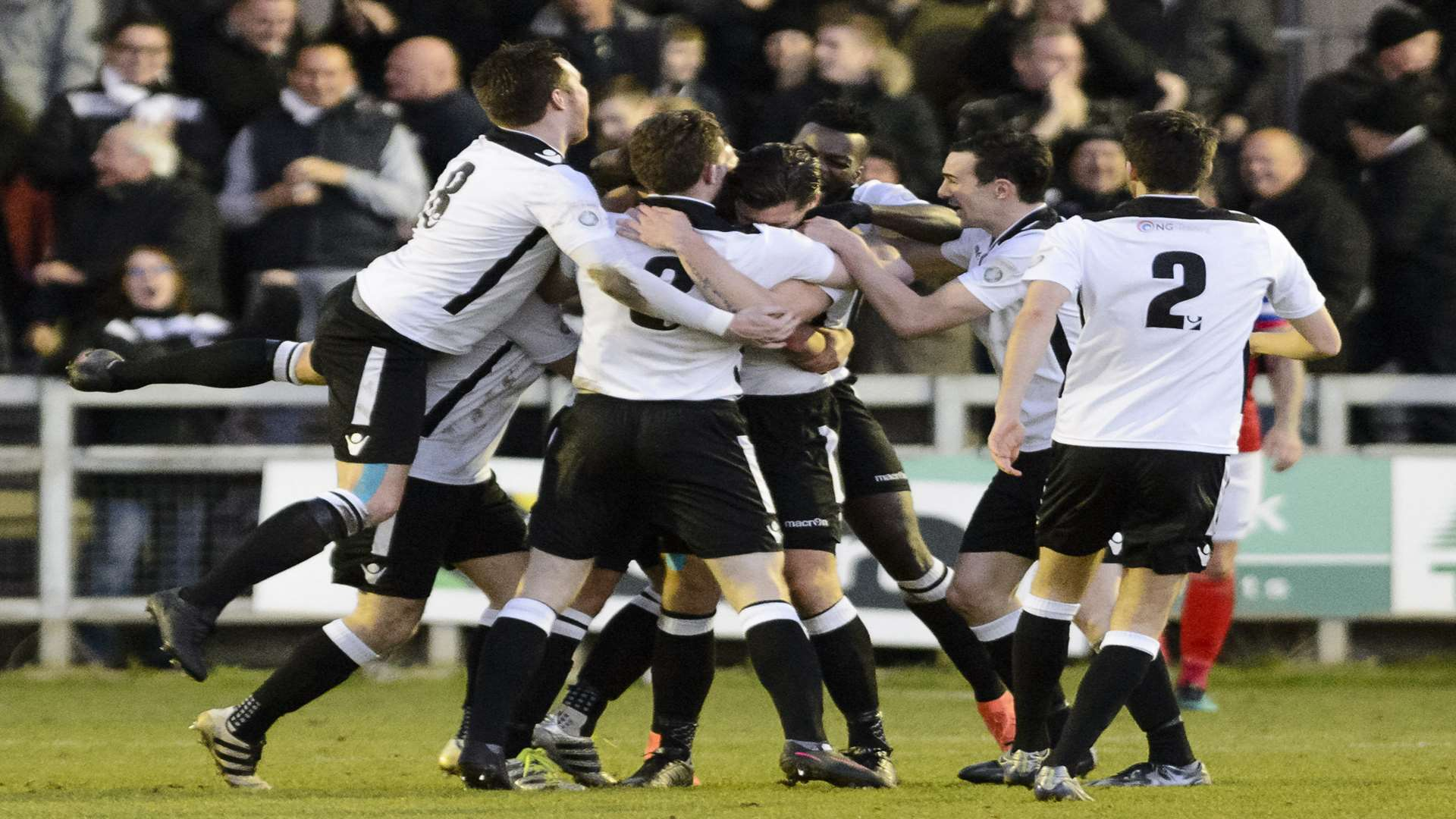 Darts celebrate Tom Bonner's goal against Ebbsfleet. Picture: Andy Payton