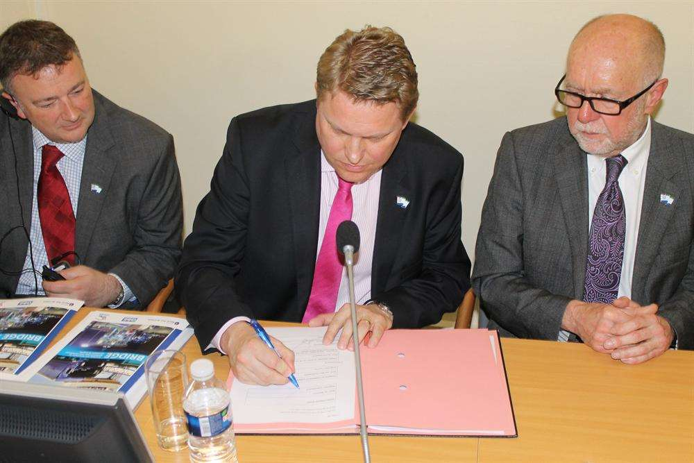 Dover Harbour Board sign the memorandum of understanding with the Port of Calais. From left, finance director Shaun Pottage, chief executive Tim Waggott and chairman George Jenkins