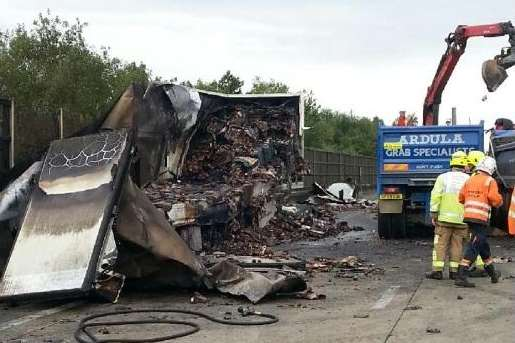The smouldering wreck of a lorry on the M20. Picture: Highways Agency