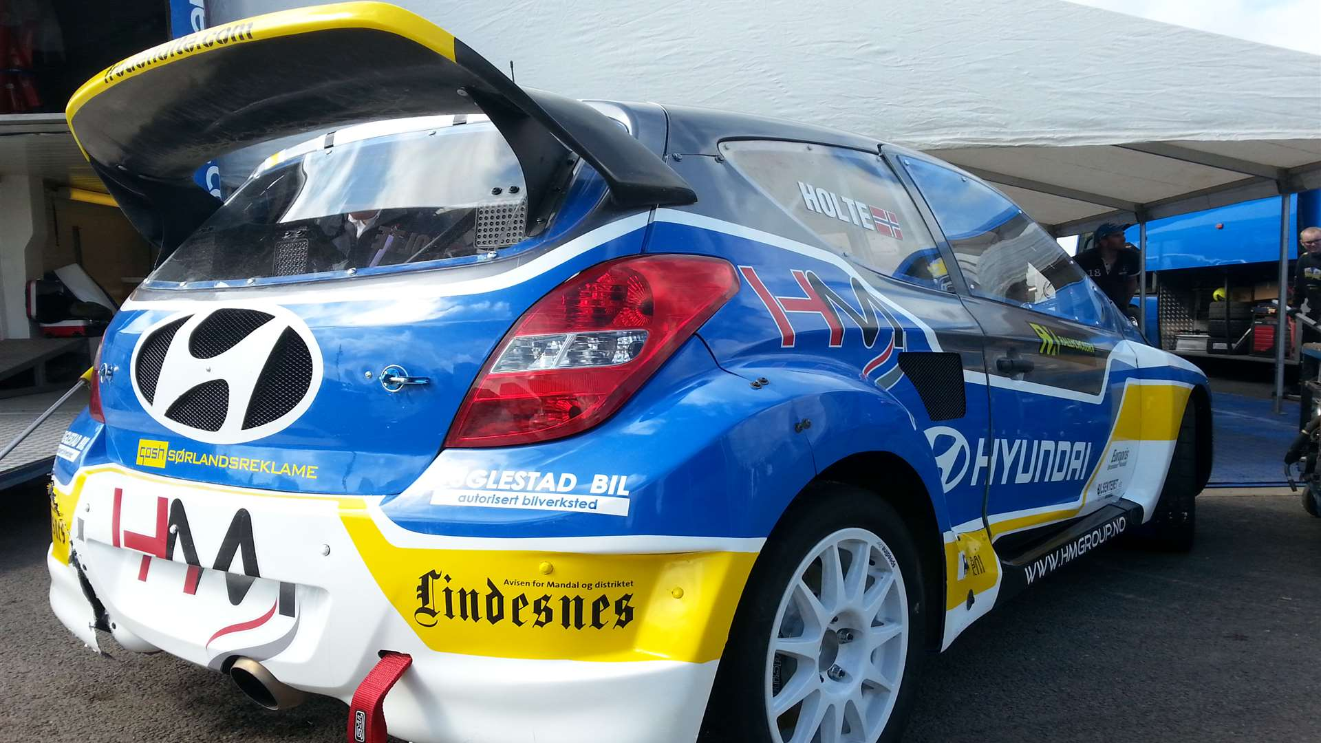 Frode Holte's Hyundai i20 looking nice in the paddock
