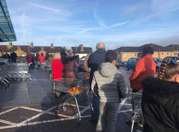 People queueing for water at Sittingbourne's Aldi. Picture: Amy Gambrill