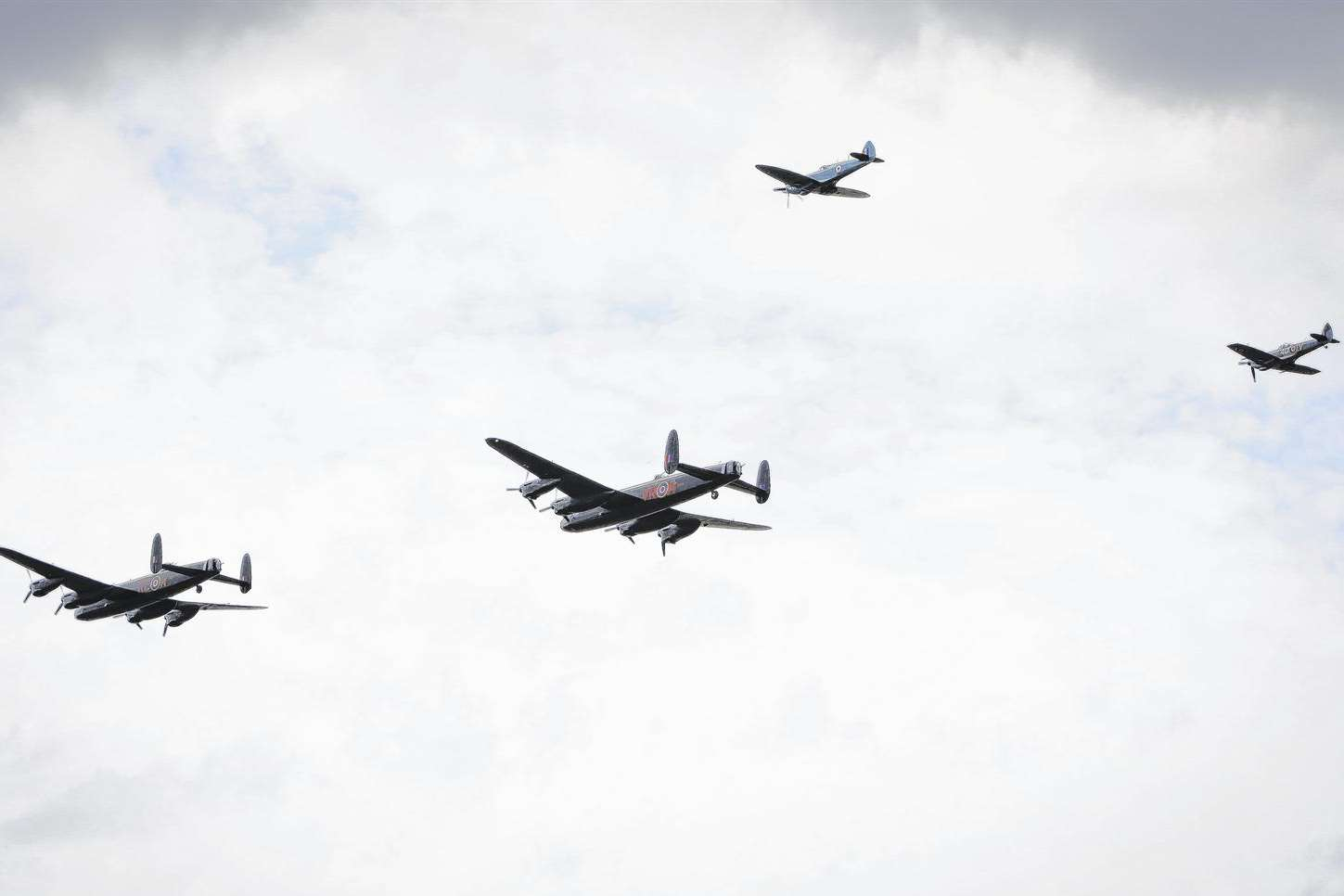 The two bombers with their fighter escort