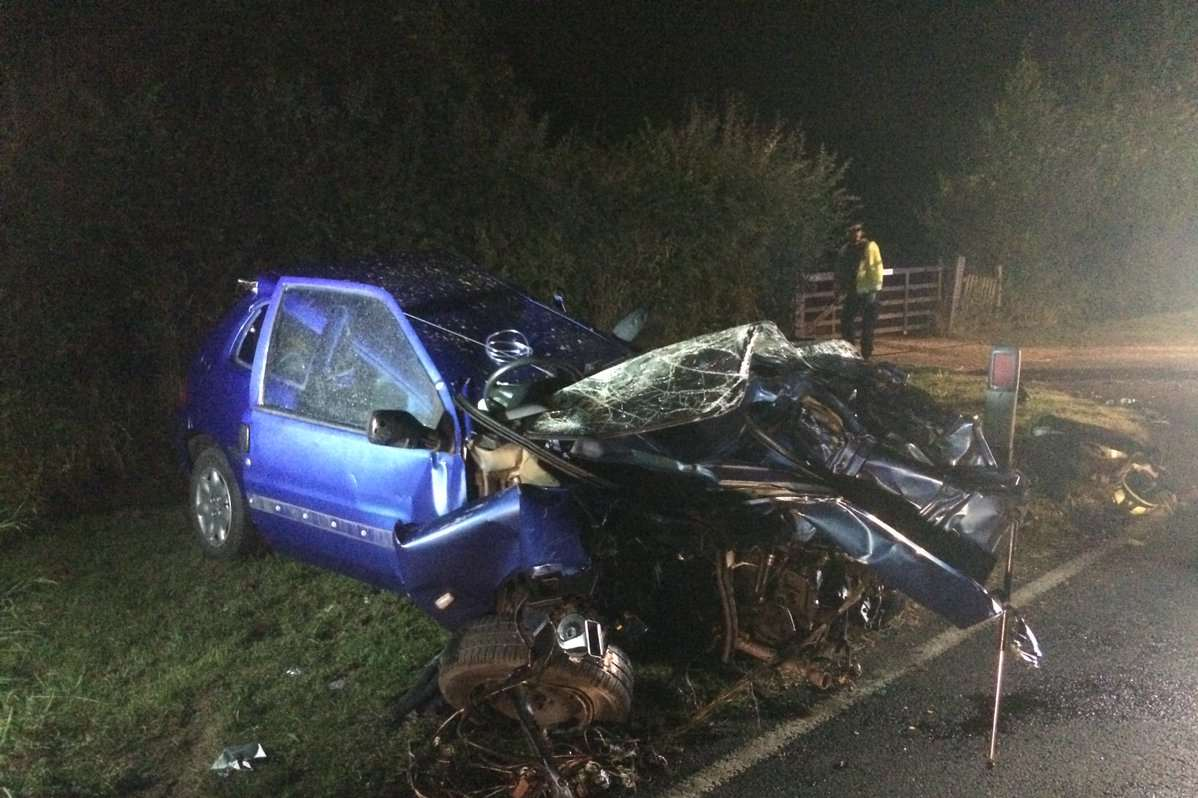 The car crash at Rolvenden Picture: Kent Police