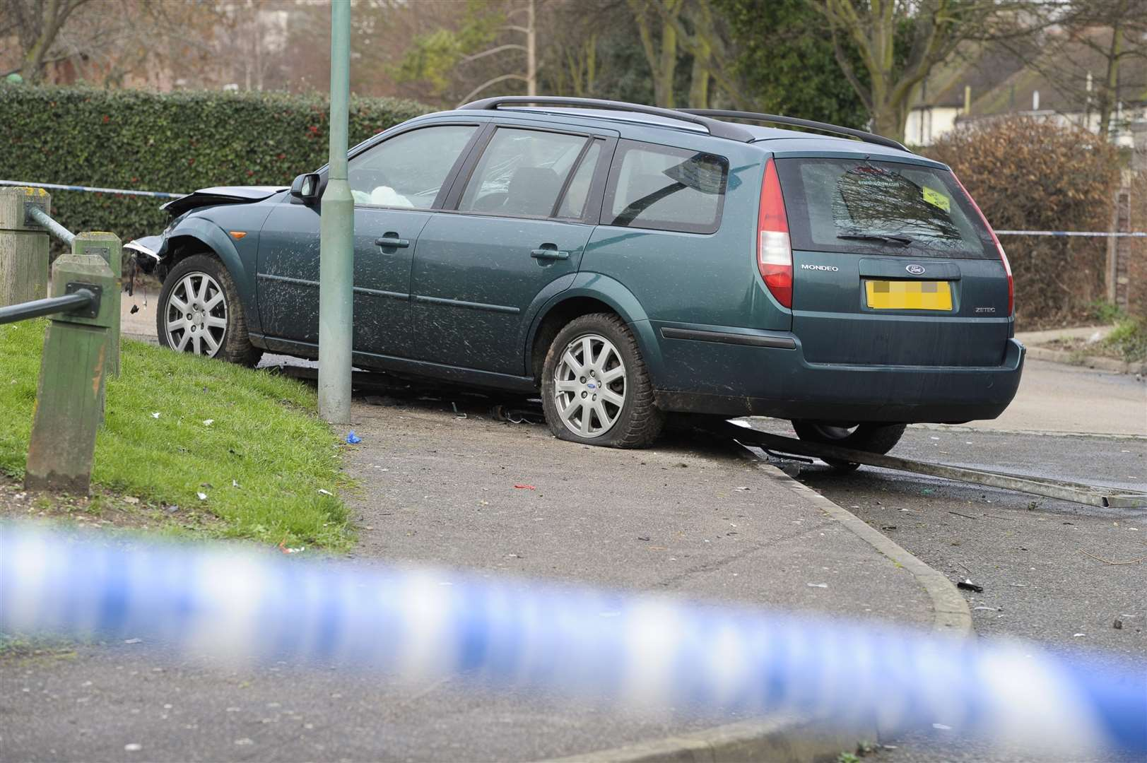 A police cordon around the car in Castlemaine Avenue. Picture: Andy Payton