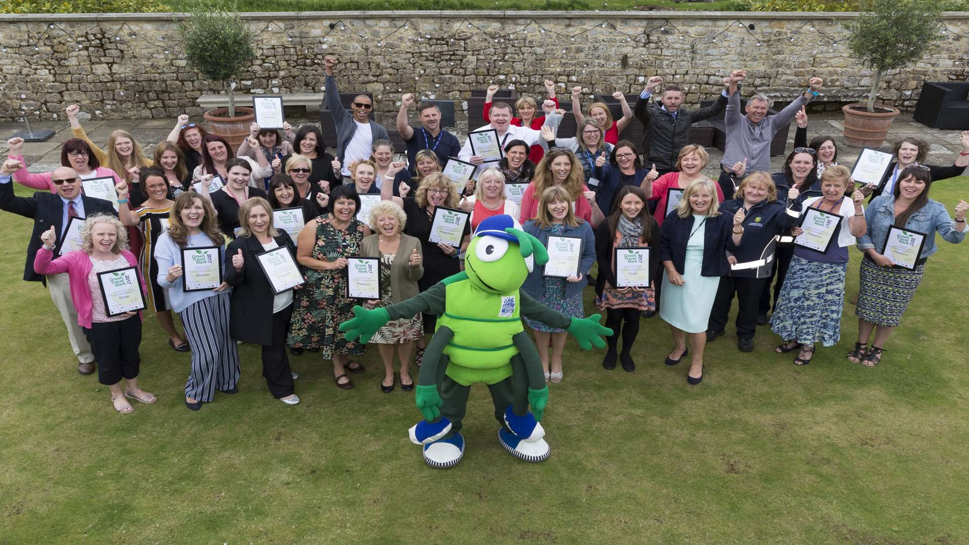 Green Travel Mark Award winners 2017 with supporters at Leeds Castle, Maidstone.