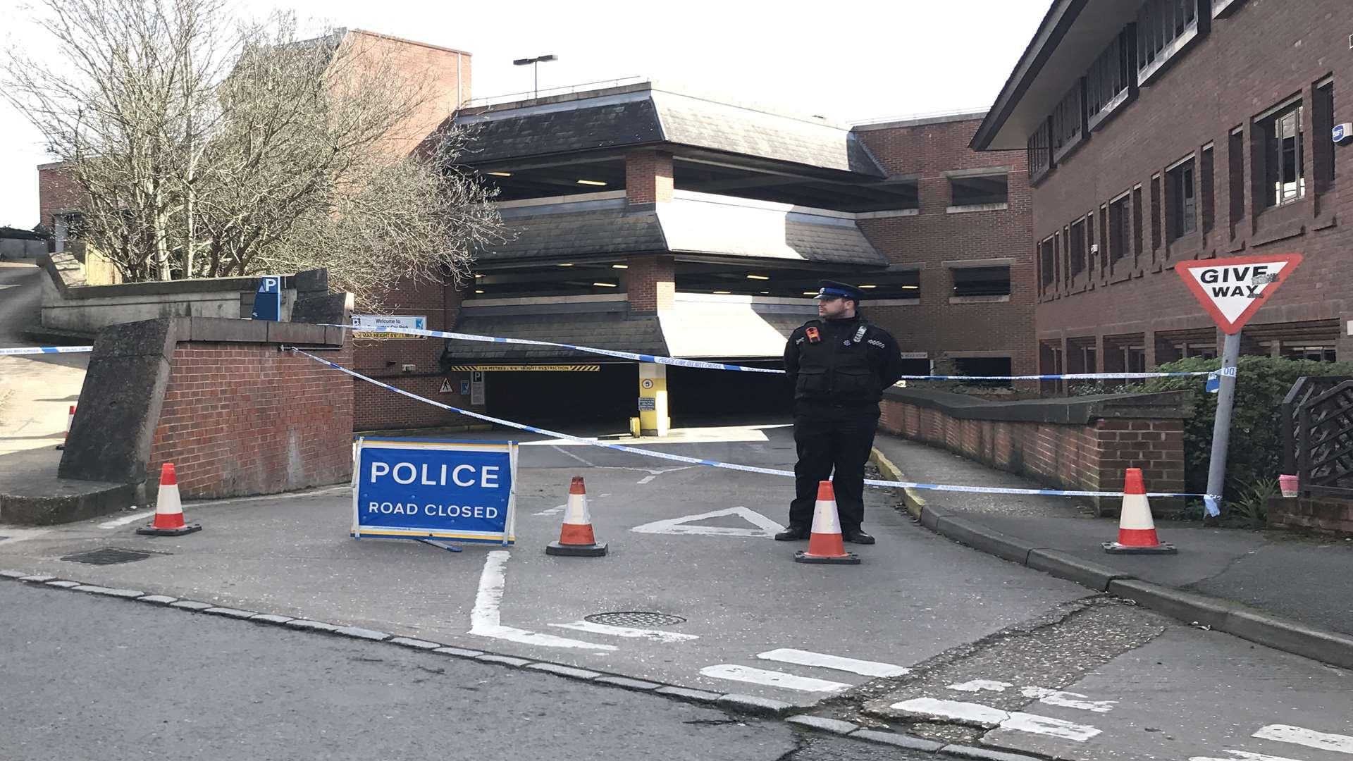 Police cordoned off Torrington car park after the alleged murder