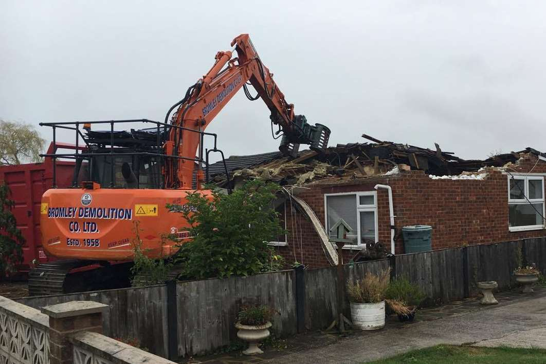 The Ratcliffe's family home in Elmley Road was demolished by a digger on Monday