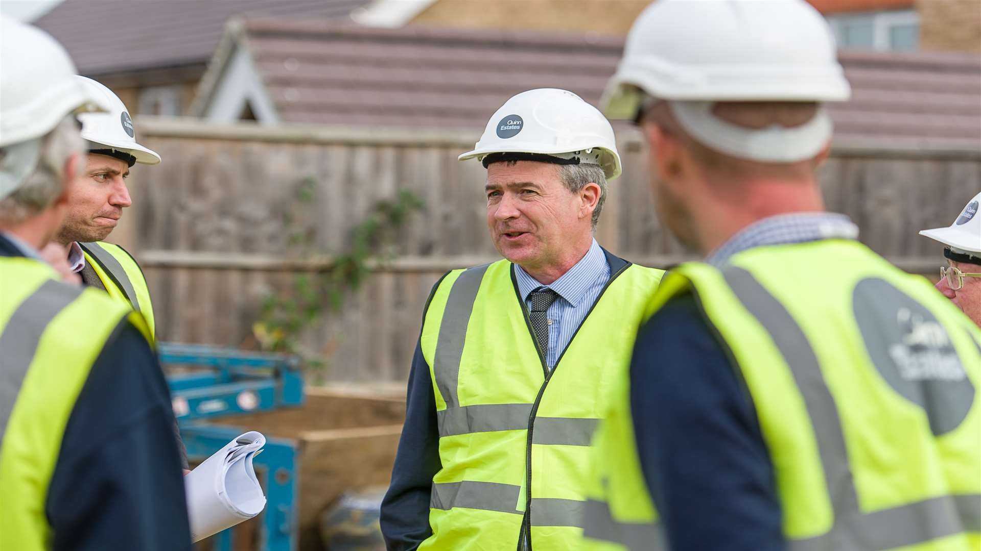 Tonbridge and Malling Borough Council leader Cllr Nicolas Heslop is shown the construction site which was the former KM Group headquarters in Larkfield