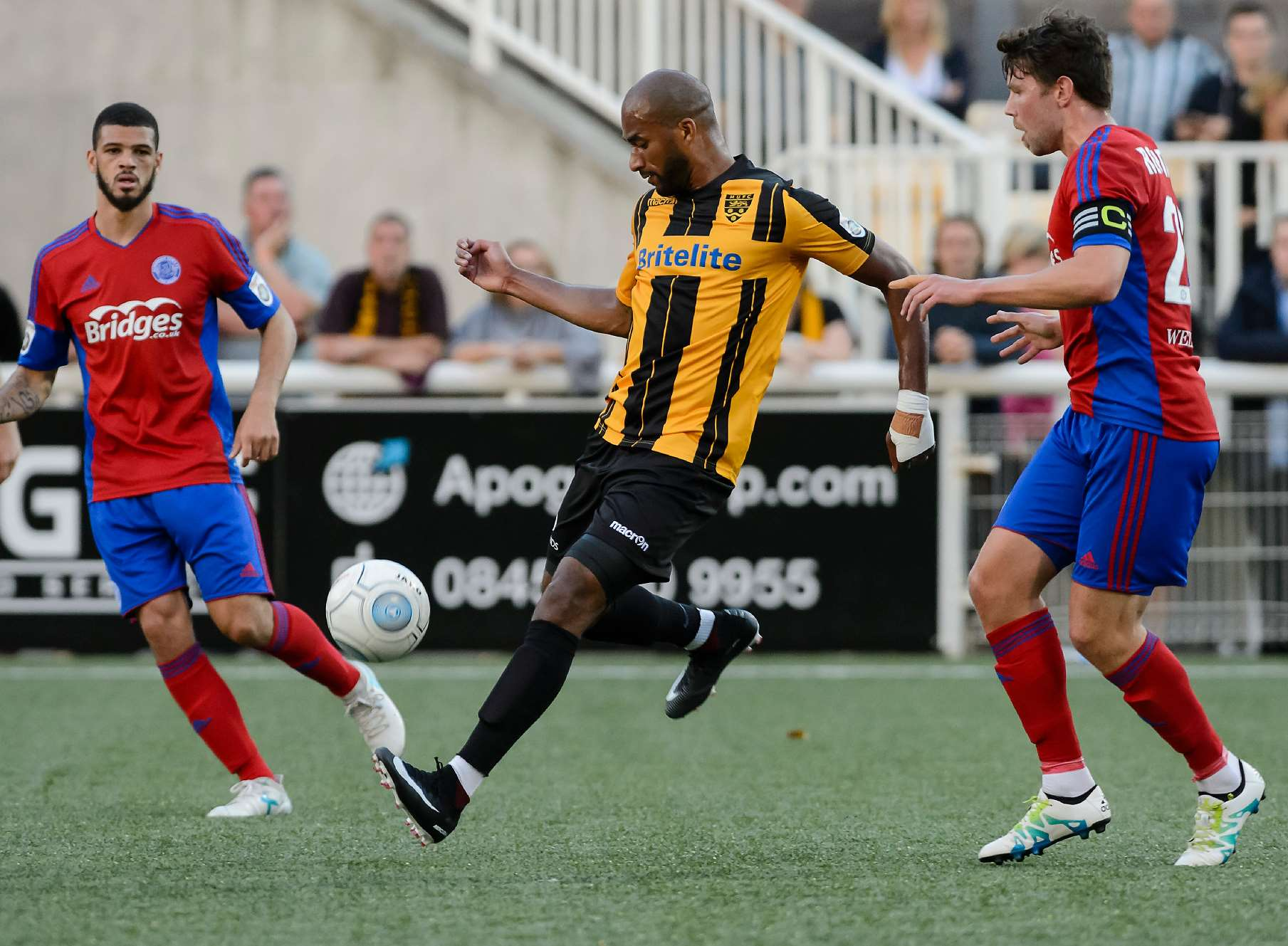 Delano Sam-Yorke gets at the Aldershot defence Picture: Andy Payton