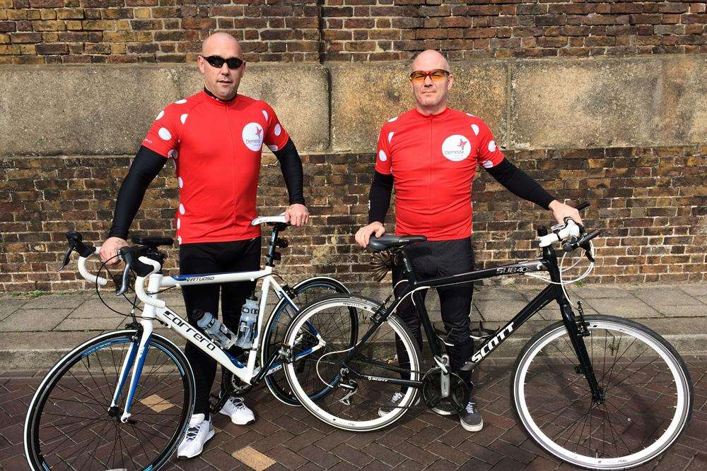 Scott Langworthy and Aidan Christie, from Sheerness, who are taking part in the Demelza 101 cycling challenge
