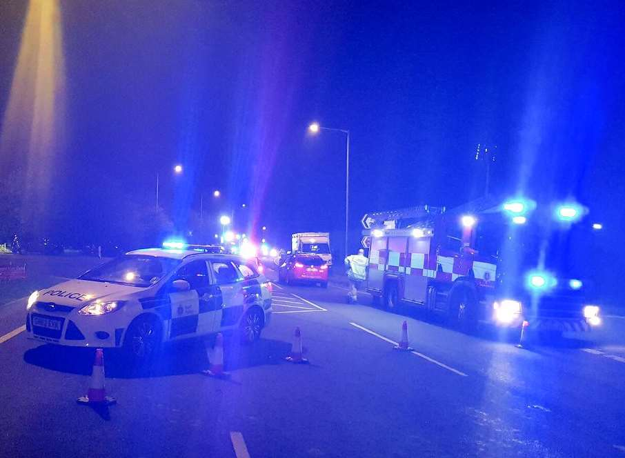 Emergency services at the scene. Picture: @KentSpecials
