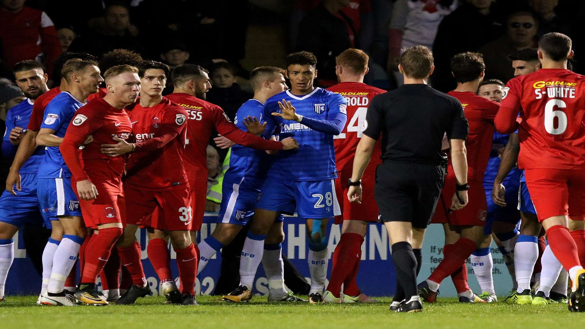 Tempers flare after some feisty challenges Picture: Andy Jones