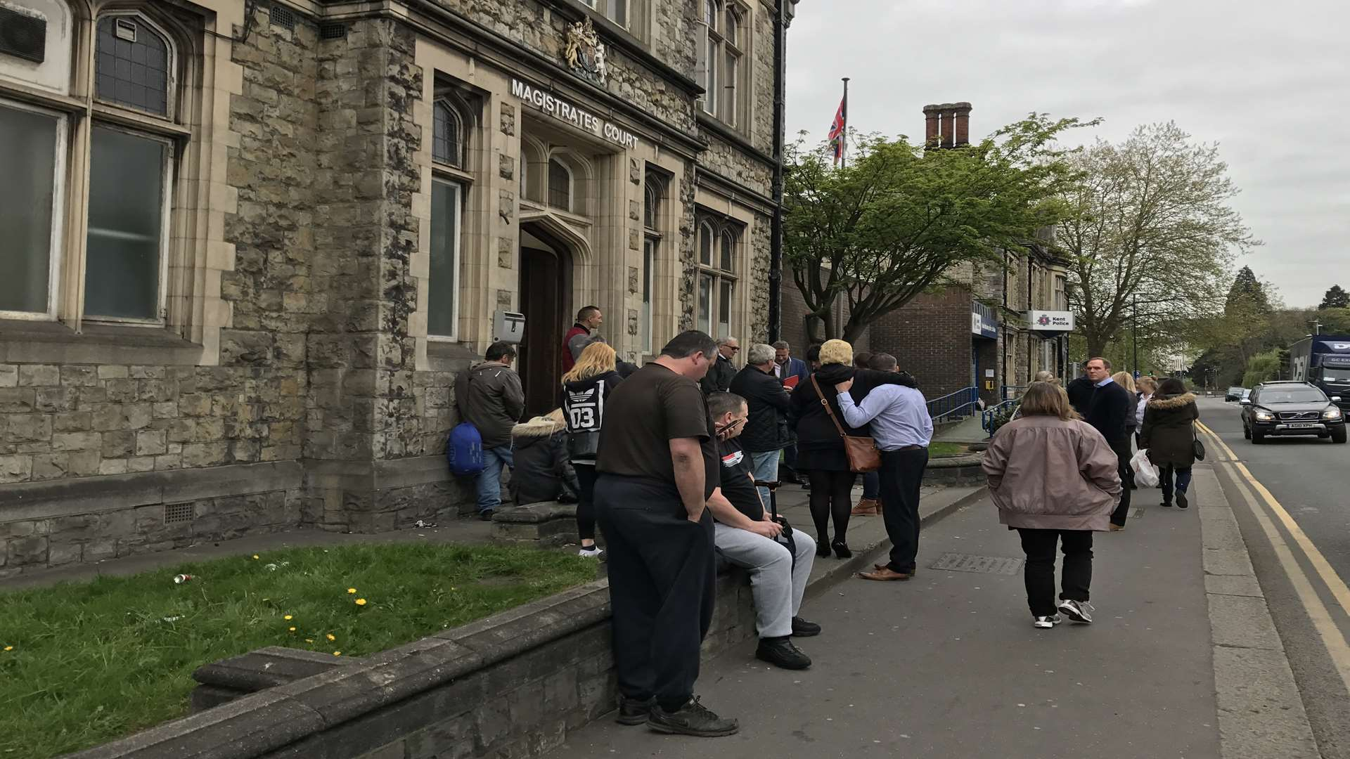 People waiting outside Maidstone Magistrates' Court were told all cases have been cancelled today