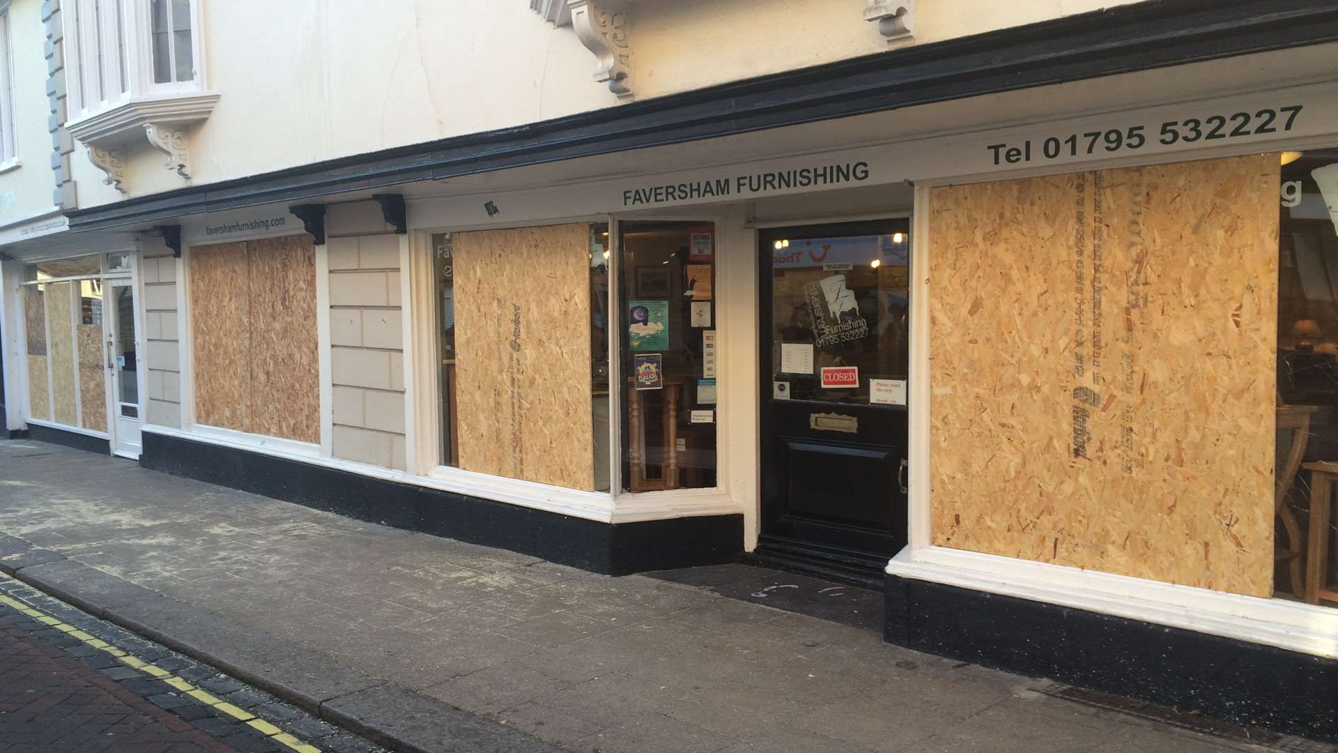 Independent business Faversham Furniture had all of its windows smashed.