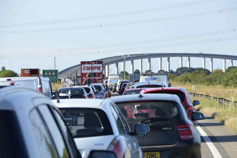 Cars on the approach to the Sheppey Crossing following the crash. Picture: Barry Hollis