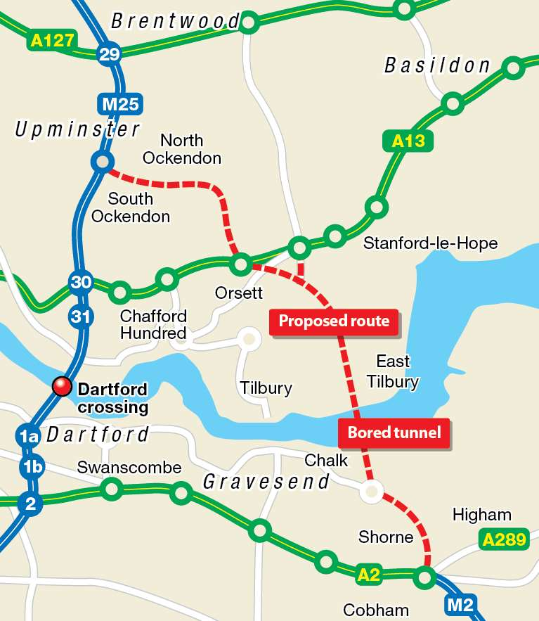 Route of the proposed new Thames crossing at Gravesham, not Dartford